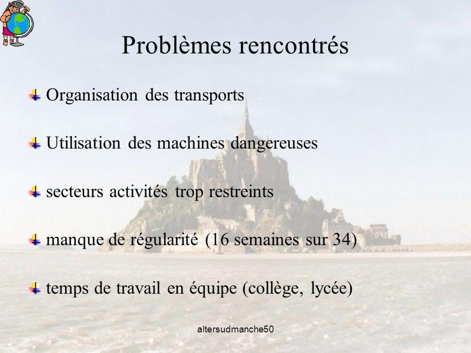 altersudmanche50 Problèmes rencontrés Organisation des transports Utilisation des machines dangereuses secteurs activités trop restreints manque de régularité (16 semaines sur 34) temps de travail en équipe (collège, lycée)