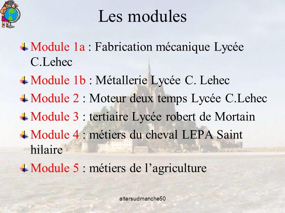 altersudmanche50 Les modules Module 1a : Fabrication mécanique Lycée C.Lehec Module 1b : Métallerie Lycée C.