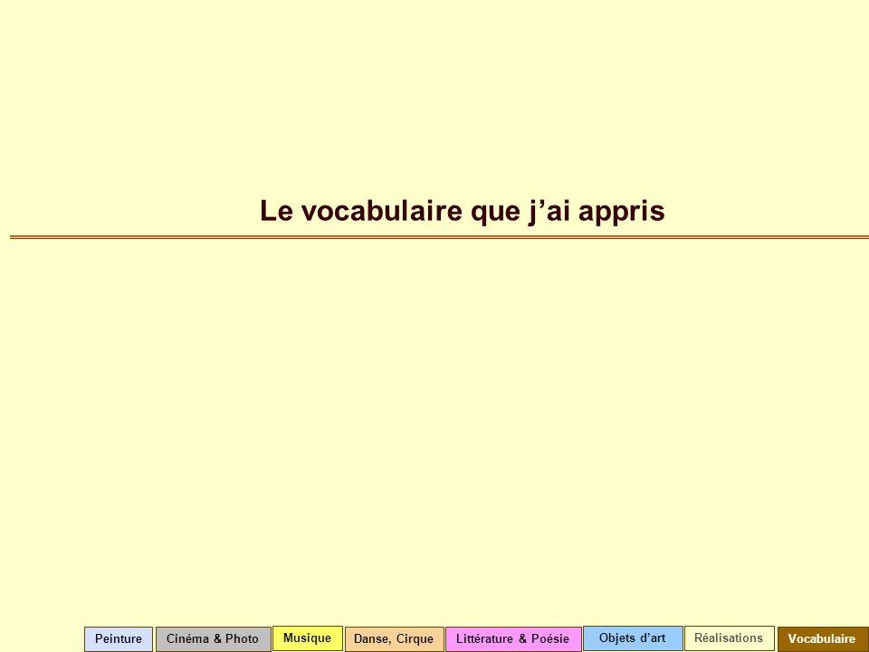Le vocabulaire que jai appris Cinéma & Photo Musique Littérature & PoésieVocabulairePeintureDanse, Cirque Objets dartRéalisations