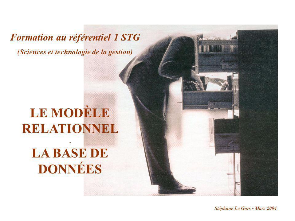 LE MODÈLE RELATIONNEL - LA BASE DE DONNÉES Formation au référentiel 1 STG (Sciences et technologie de la gestion) Stéphane Le Gars - Mars 2004