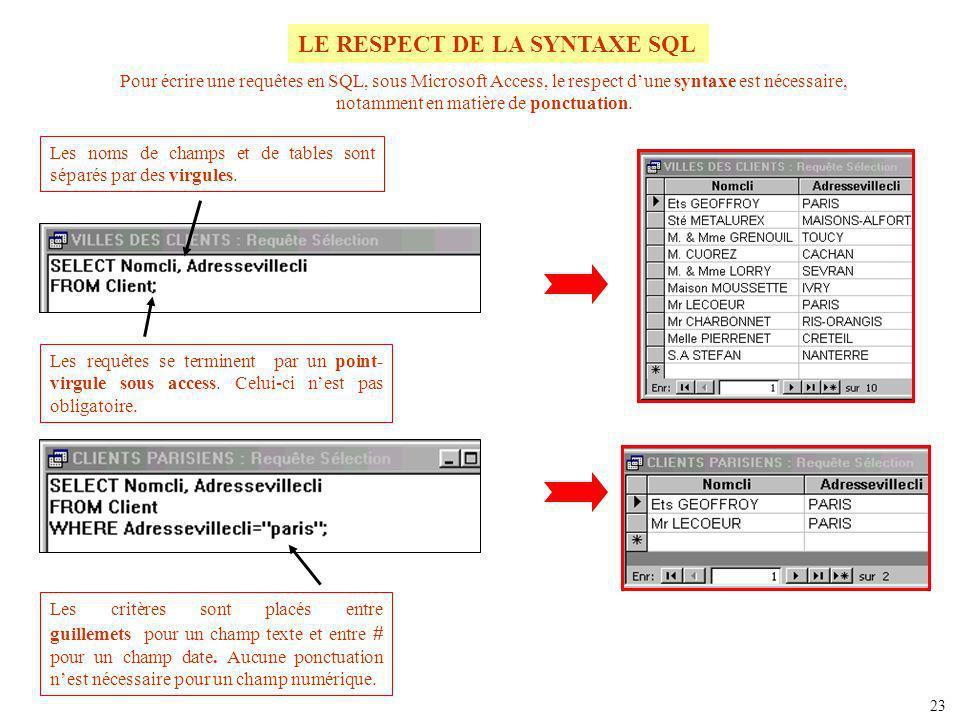 Pour écrire une requêtes en SQL, sous Microsoft Access, le respect dune syntaxe est nécessaire, notamment en matière de ponctuation. Les noms de champ