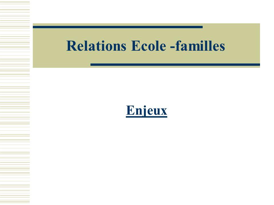 Relations Ecole -familles Enjeux