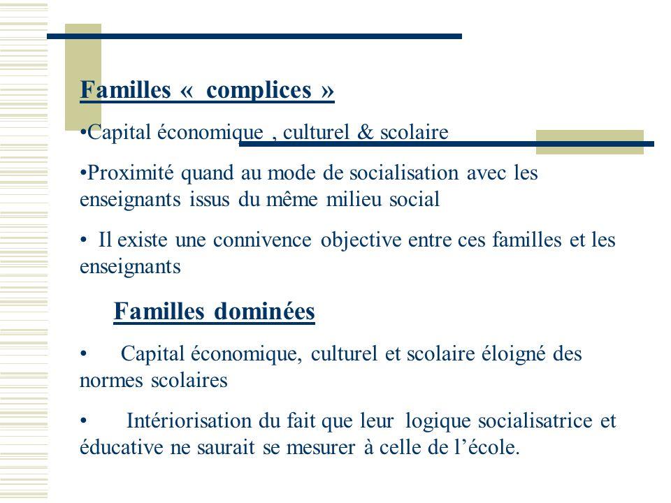 Familles « complices » Capital économique, culturel & scolaire Proximité quand au mode de socialisation avec les enseignants issus du même milieu soci