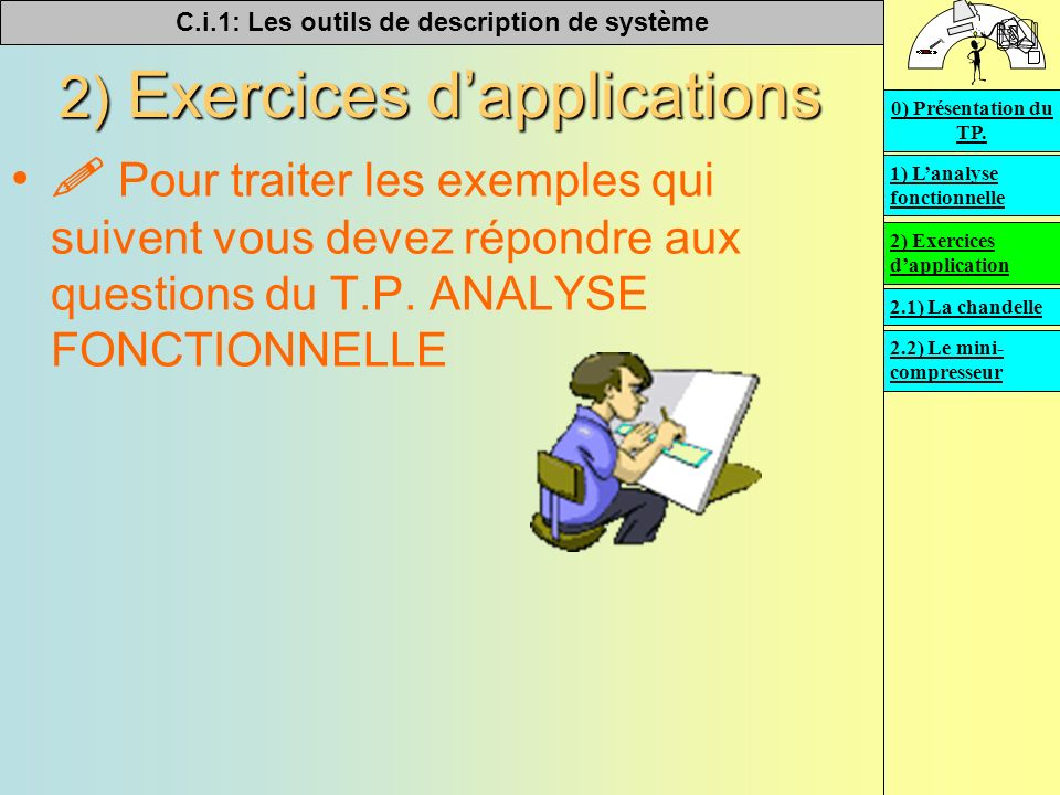 C.i.1: Les outils de description de système 2) Exercices dapplications Pour traiter les exemples qui suivent vous devez répondre aux questions du T.P.