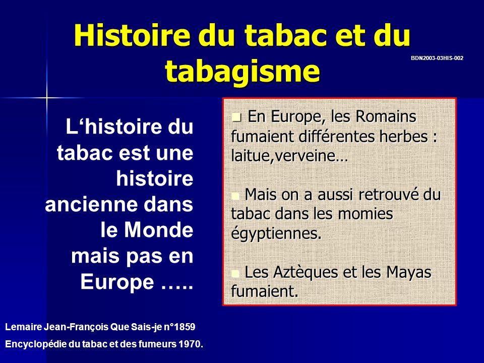 Histoire du tabac et du tabagisme Lhistoire du tabac est une histoire ancienne dans le Monde mais pas en Europe ….. En Europe, les Romains fumaient di