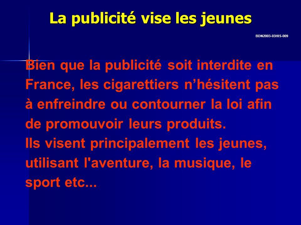 La publicité vise les jeunes Bien que la publicité soit interdite en France, les cigarettiers nhésitent pas à enfreindre ou contourner la loi afin de