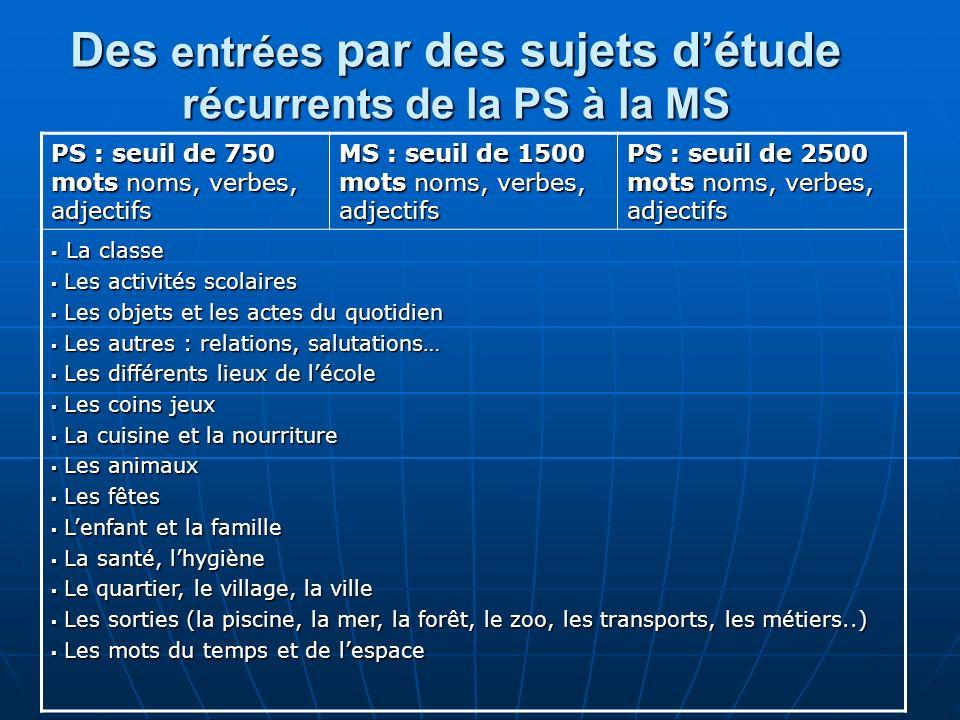 Des entrées par des sujets détude récurrents de la PS à la MS PS : seuil de 750 mots noms, verbes, adjectifs MS : seuil de 1500 mots noms, verbes, adj