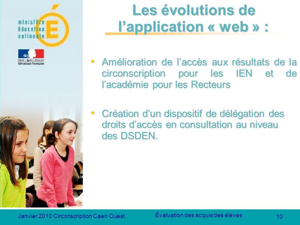 10 Évaluation des acquis des élèves Janvier 2010 Circonscription Caen Ouest Les évolutions de lapplication « web » : Amélioration de laccès aux résult