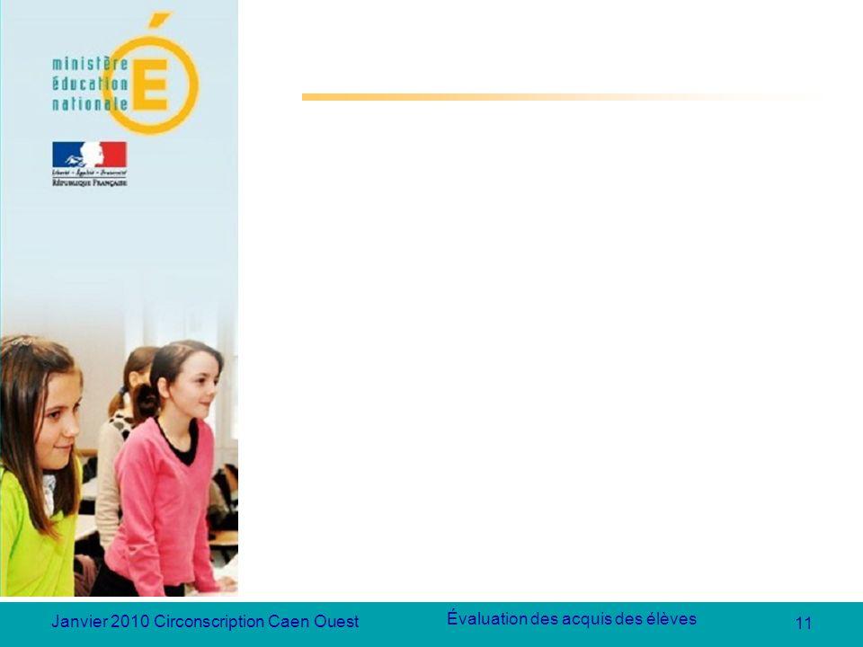 11 Évaluation des acquis des élèves Janvier 2010 Circonscription Caen Ouest