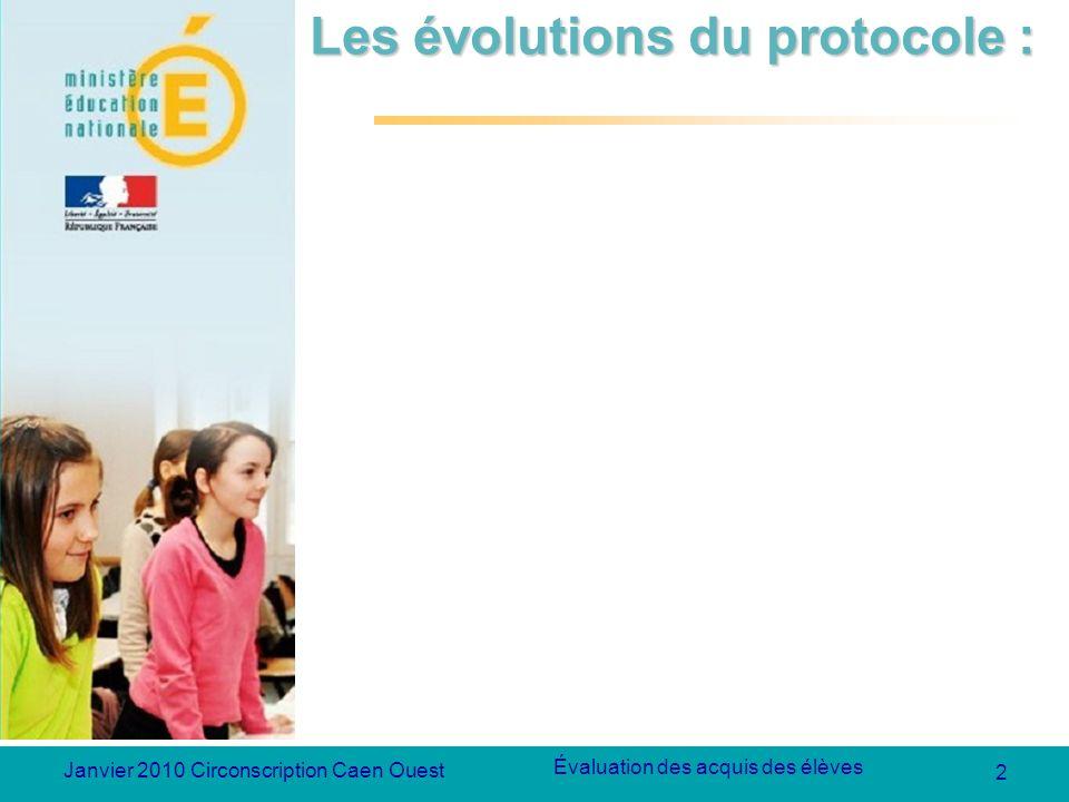 2 Évaluation des acquis des élèves Janvier 2010 Circonscription Caen Ouest Les évolutions du protocole :