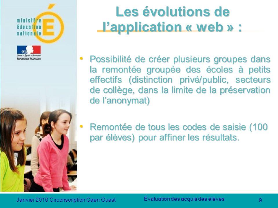 9 Évaluation des acquis des élèves Janvier 2010 Circonscription Caen Ouest Les évolutions de lapplication « web » : Possibilité de créer plusieurs gro