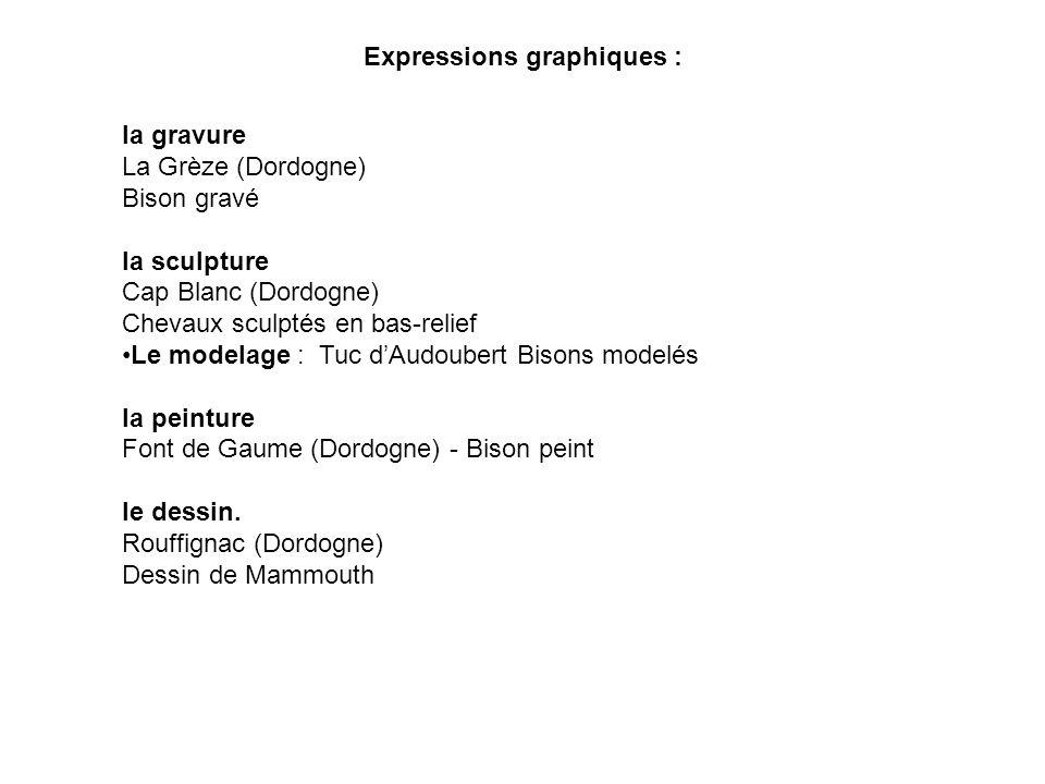 Expressions graphiques : la gravure La Grèze (Dordogne) Bison gravé la sculpture Cap Blanc (Dordogne) Chevaux sculptés en bas-relief Le modelage : Tuc