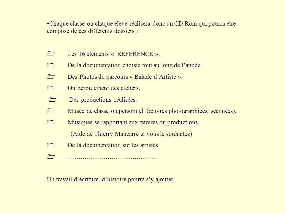 Chaque classe ou chaque élève réalisera donc un CD Rom qui pourra être composé de ces différents dossiers : Les 16 éléments « REFERENCE ». De la docum