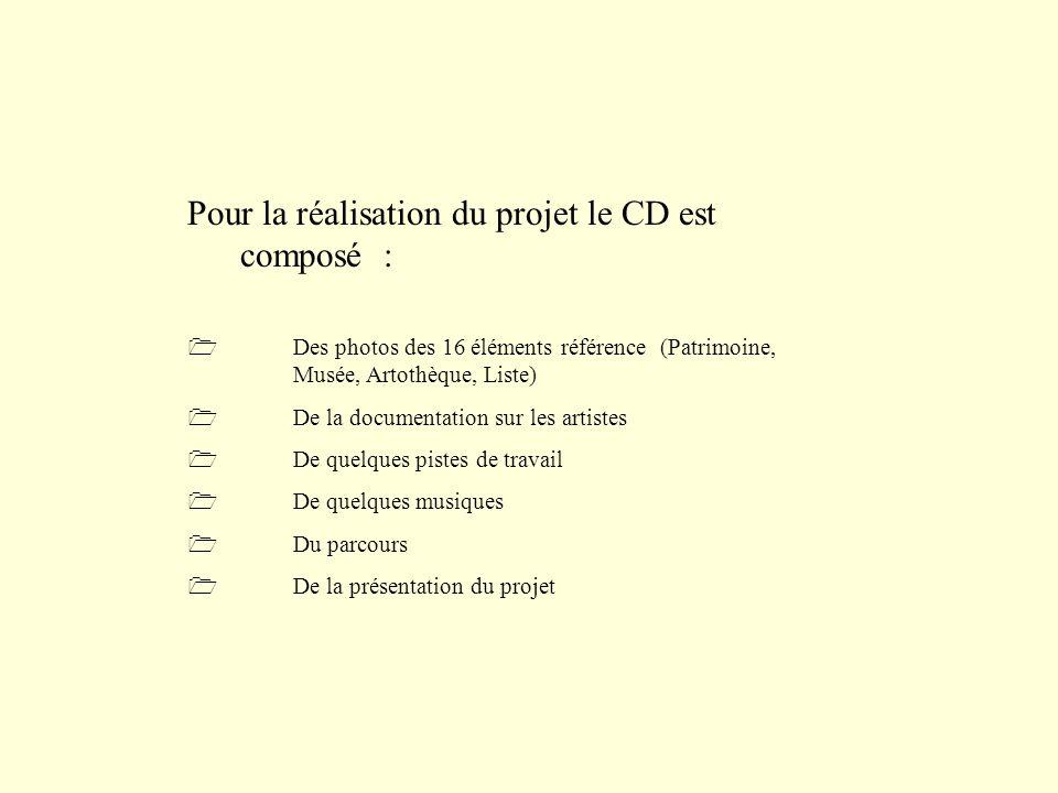 Pour la réalisation du projet le CD est composé : Des photos des 16 éléments référence (Patrimoine, Musée, Artothèque, Liste) De la documentation sur