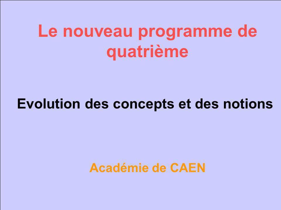 Le nouveau programme de quatrième Evolution des concepts et des notions Académie de CAEN