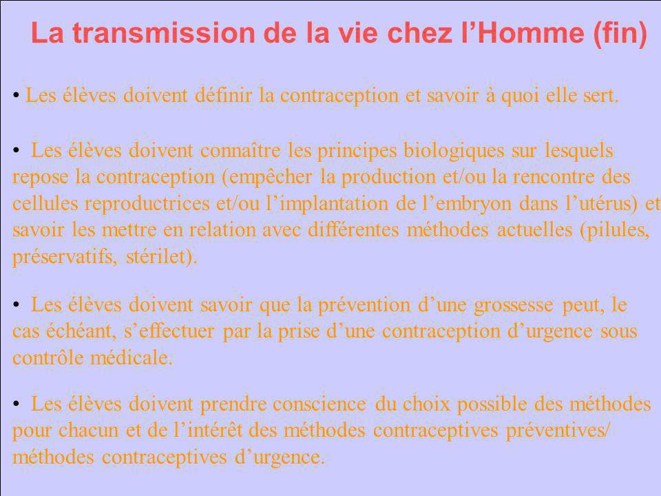 La transmission de la vie chez lHomme (fin) Les élèves doivent définir la contraception et savoir à quoi elle sert. Les élèves doivent connaître les p