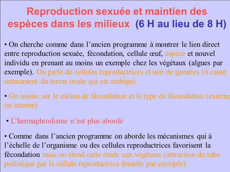 Reproduction sexuée et maintien des espèces dans les milieux (6 H au lieu de 8 H) On cherche comme dans lancien programme à montrer le lien direct ent