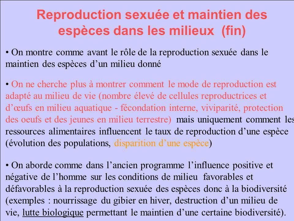 Reproduction sexuée et maintien des espèces dans les milieux (fin) On montre comme avant le rôle de la reproduction sexuée dans le maintien des espèce