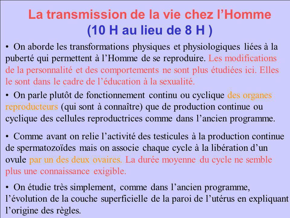 La transmission de la vie chez lHomme (10 H au lieu de 8 H ) On aborde les transformations physiques et physiologiques liées à la puberté qui permette