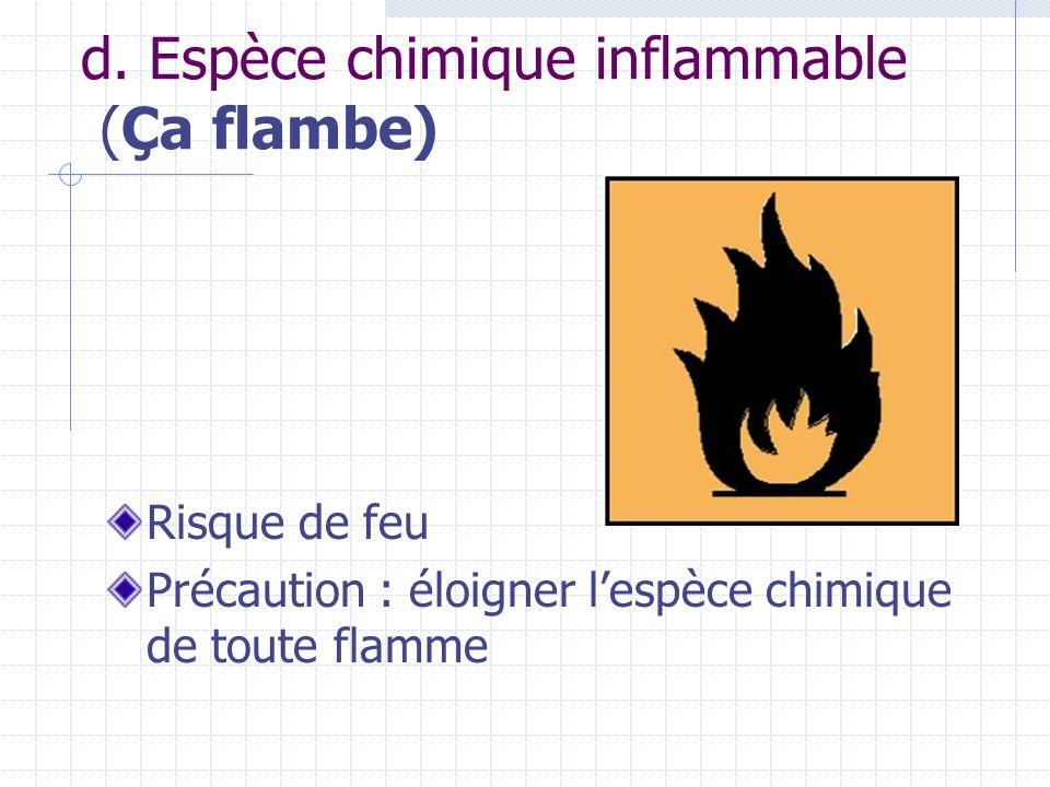 d. Espèce chimique inflammable (Ça flambe) Risque de feu Précaution : éloigner lespèce chimique de toute flamme