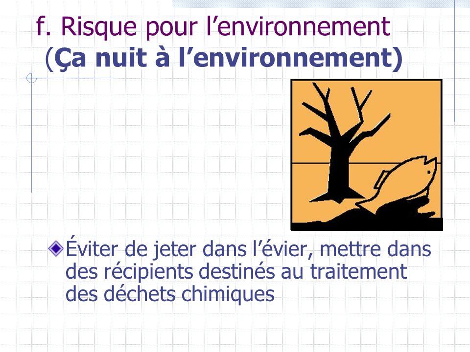 f. Risque pour lenvironnement (Ça nuit à lenvironnement) Éviter de jeter dans lévier, mettre dans des récipients destinés au traitement des déchets ch