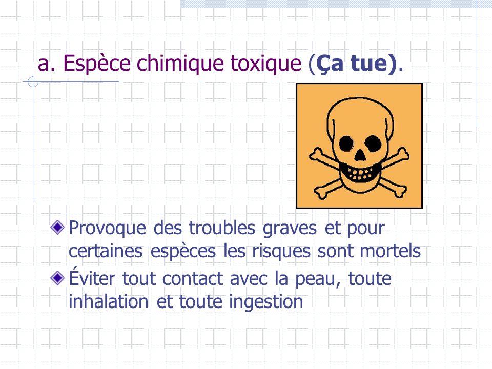 a. Espèce chimique toxique (Ça tue). Provoque des troubles graves et pour certaines espèces les risques sont mortels Éviter tout contact avec la peau,