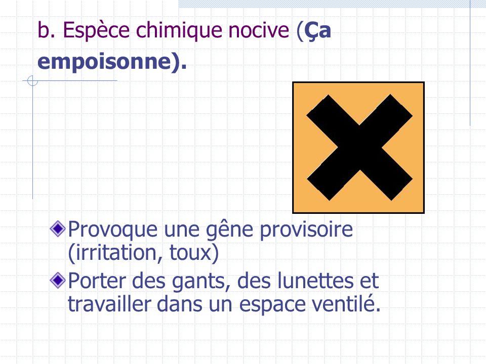 b. Espèce chimique nocive (Ça empoisonne). Provoque une gêne provisoire (irritation, toux) Porter des gants, des lunettes et travailler dans un espace