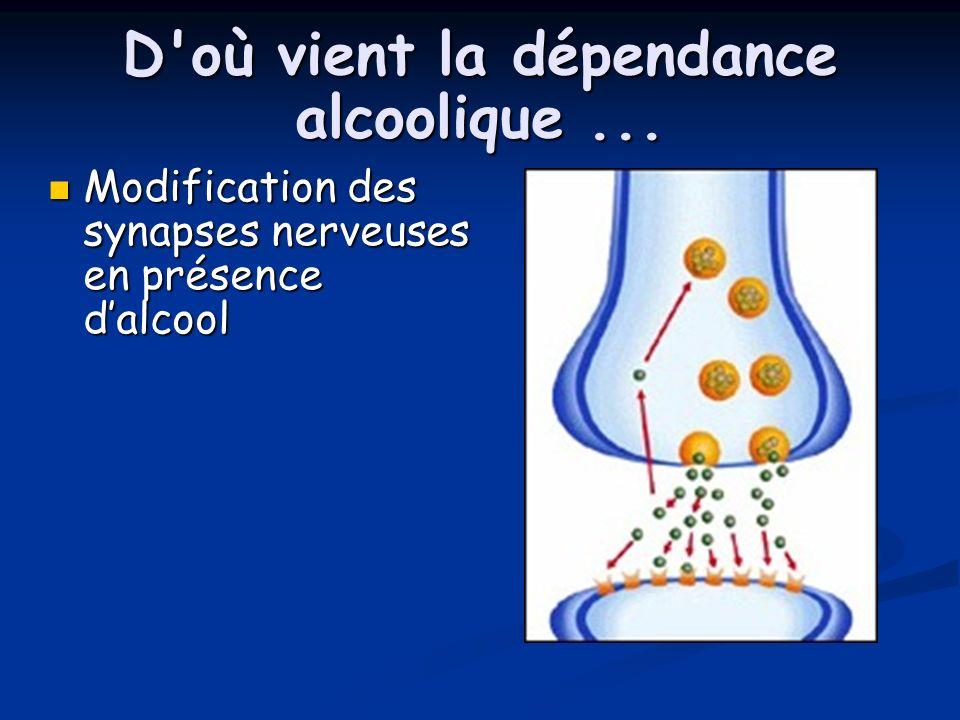 D'où vient la dépendance alcoolique... Modification des synapses nerveuses en présence dalcool Modification des synapses nerveuses en présence dalcool