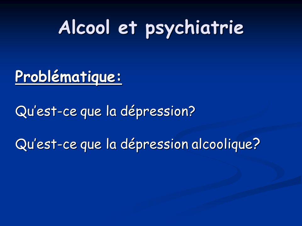 Alcool et psychiatrie Problématique: Quest-ce que la dépression? Quest-ce que la dépression alcoolique ?