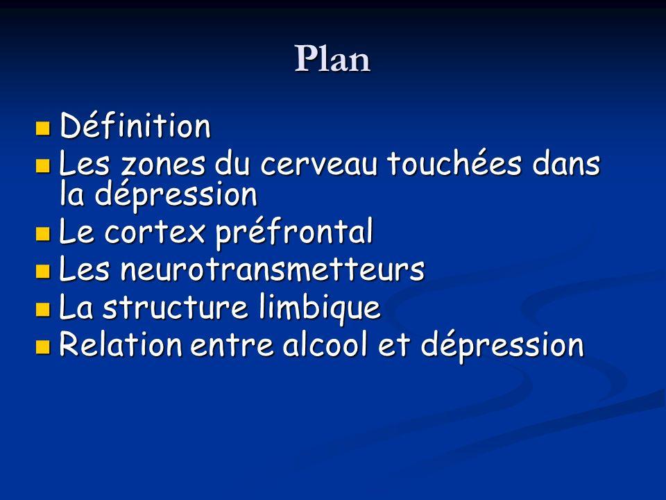 Plan Définition Définition Les zones du cerveau touchées dans la dépression Les zones du cerveau touchées dans la dépression Le cortex préfrontal Le c