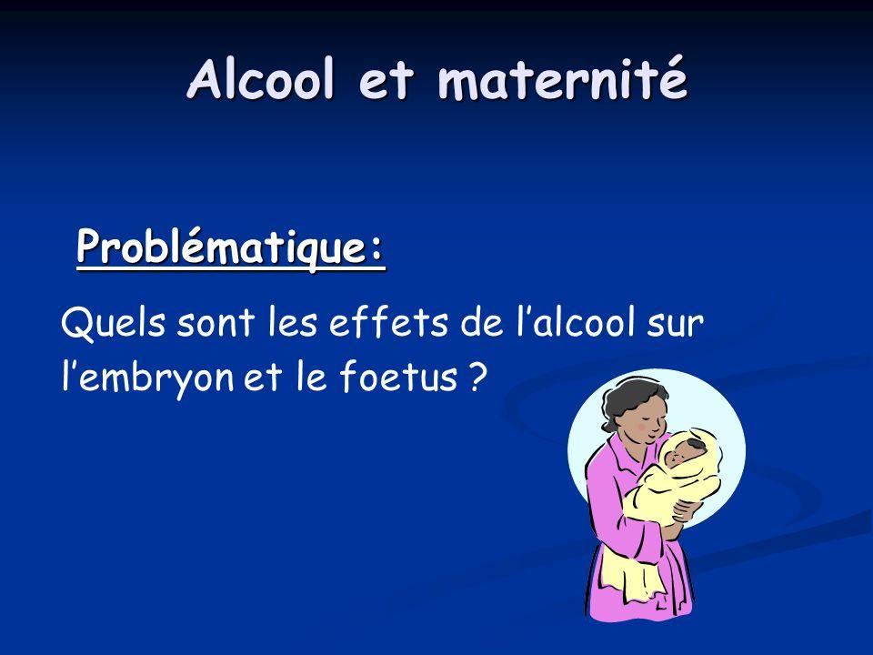 Alcool et maternité Problématique: Problématique: Quels sont les effets de lalcool sur lembryon et le foetus ?
