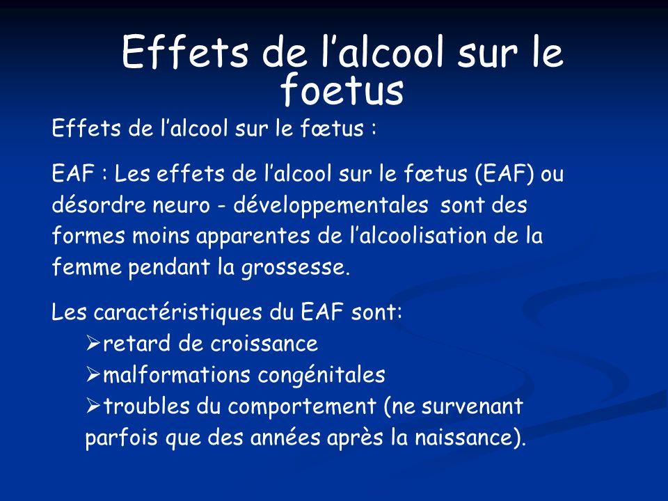 Effets de lalcool sur le fœtus : EAF : Les effets de lalcool sur le fœtus (EAF) ou désordre neuro - développementales sont des formes moins apparentes