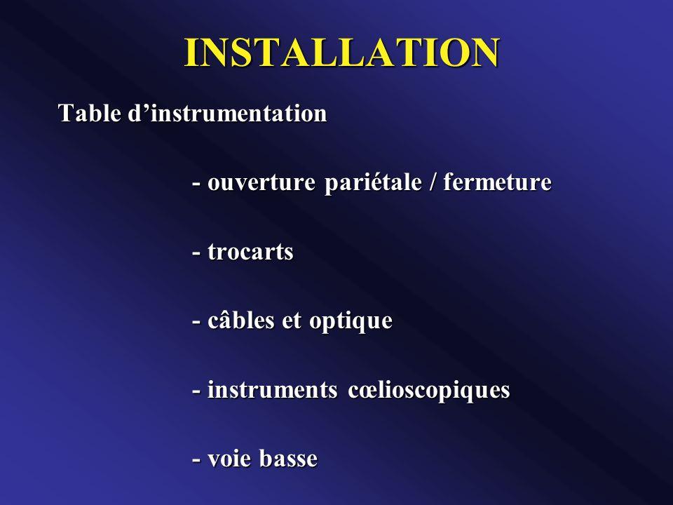 INSTALLATION Table dinstrumentation - ouverture pariétale / fermeture - trocarts - câbles et optique - instruments cœlioscopiques - voie basse
