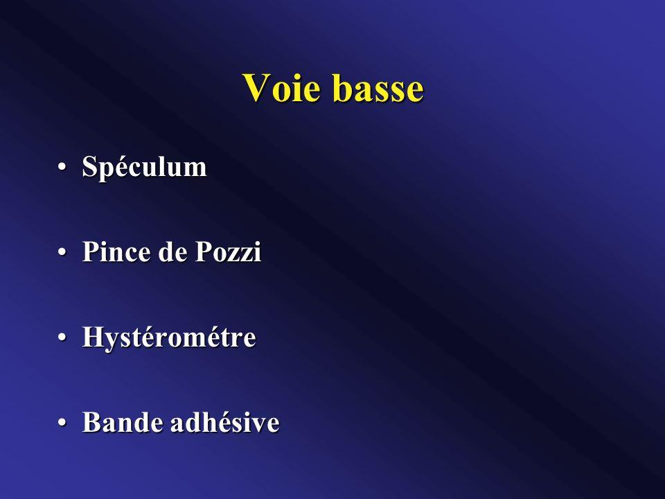 Voie basse SpéculumSpéculum Pince de PozziPince de Pozzi HystérométreHystérométre Bande adhésiveBande adhésive