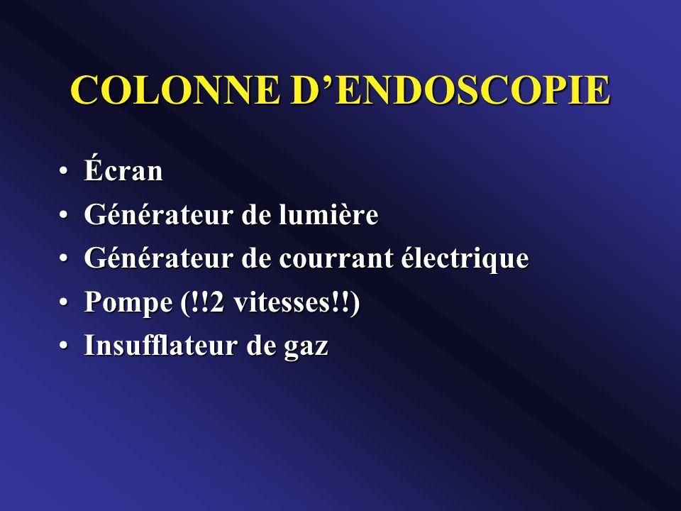 COLONNE DENDOSCOPIE ÉcranÉcran Générateur de lumièreGénérateur de lumière Générateur de courrant électriqueGénérateur de courrant électrique Pompe (!!