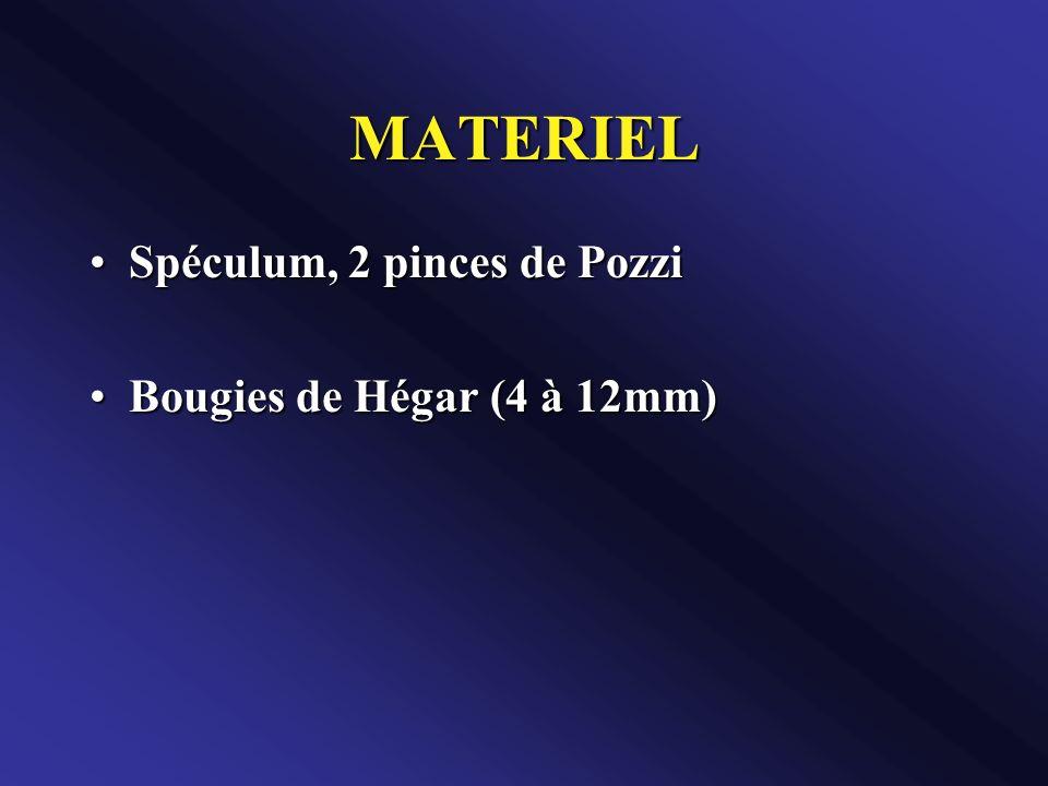 MATERIEL Spéculum, 2 pinces de PozziSpéculum, 2 pinces de Pozzi Bougies de Hégar (4 à 12mm)Bougies de Hégar (4 à 12mm)