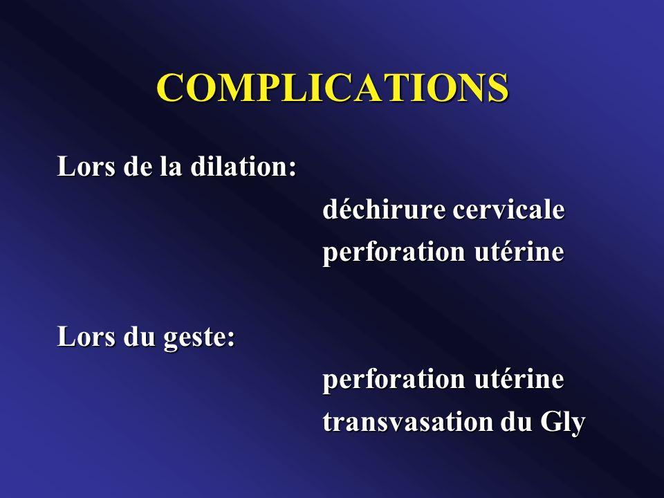 COMPLICATIONS Lors de la dilation: déchirure cervicale perforation utérine Lors du geste: perforation utérine transvasation du Gly