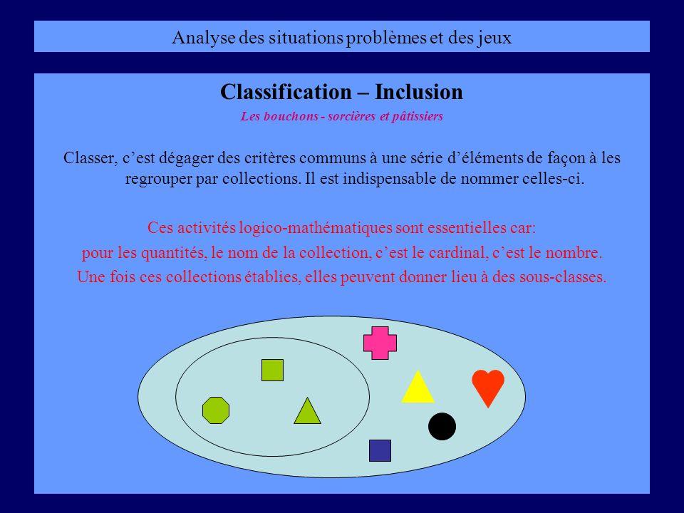 Analyse des situations problèmes et des jeux Classification – Inclusion Les bouchons - sorcières et pâtissiers Classer, cest dégager des critères comm