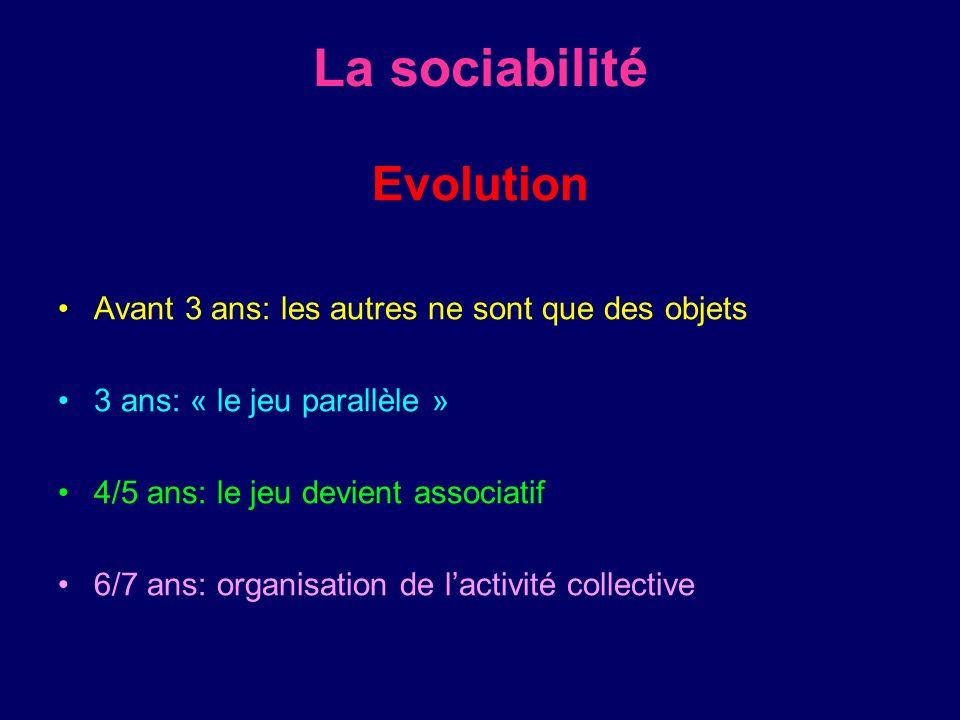 La sociabilité Evolution Avant 3 ans: les autres ne sont que des objets 3 ans: « le jeu parallèle » 4/5 ans: le jeu devient associatif 6/7 ans: organi
