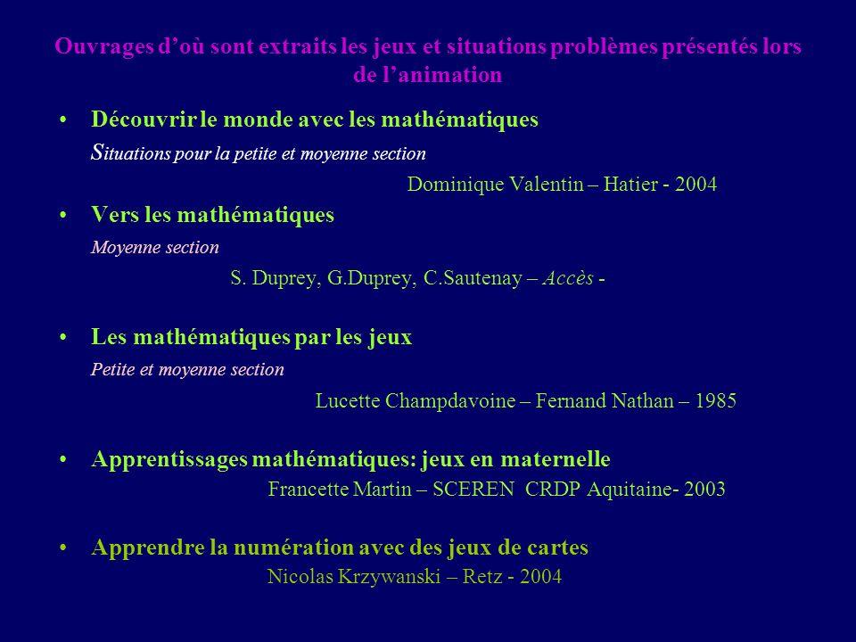 Ouvrages doù sont extraits les jeux et situations problèmes présentés lors de lanimation Découvrir le monde avec les mathématiques S ituations pour la