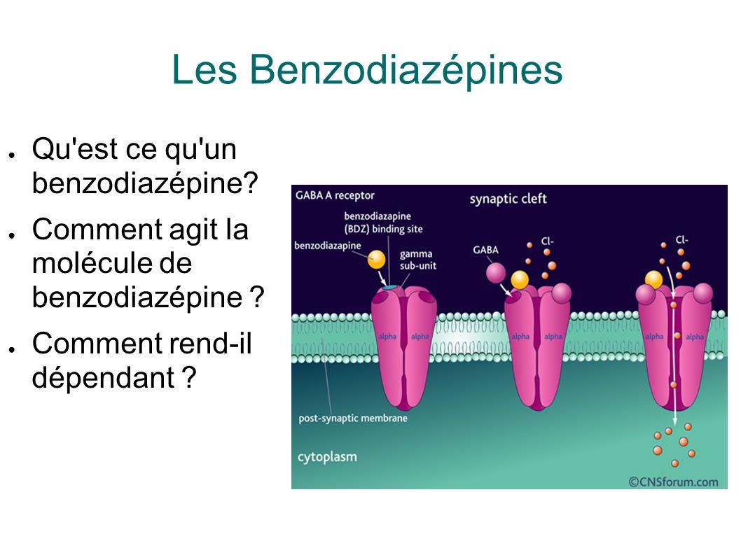 Les Benzodiazépines Qu'est ce qu'un benzodiazépine? Comment agit la molécule de benzodiazépine ? Comment rend-il dépendant ?