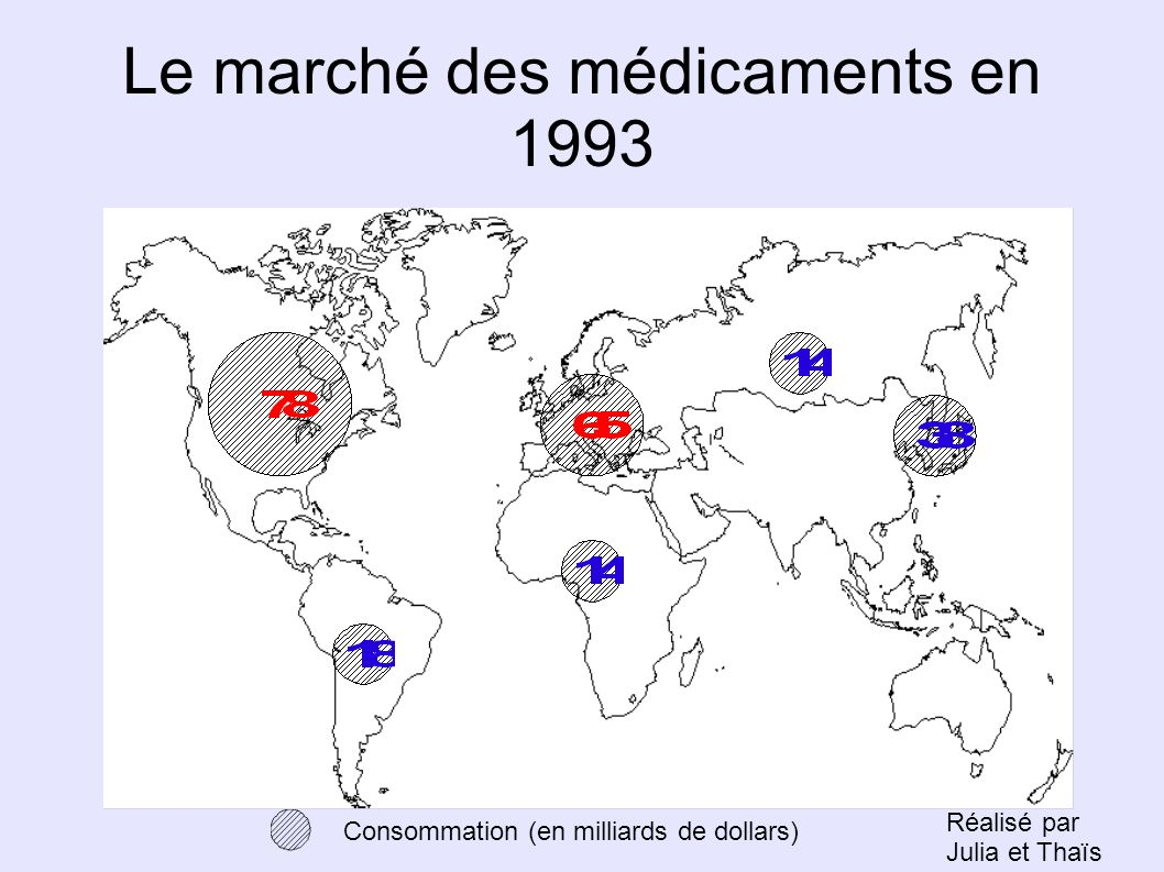 Le marché des médicaments en 1993 Consommation (en milliards de dollars) Réalisé par Julia et Thaïs