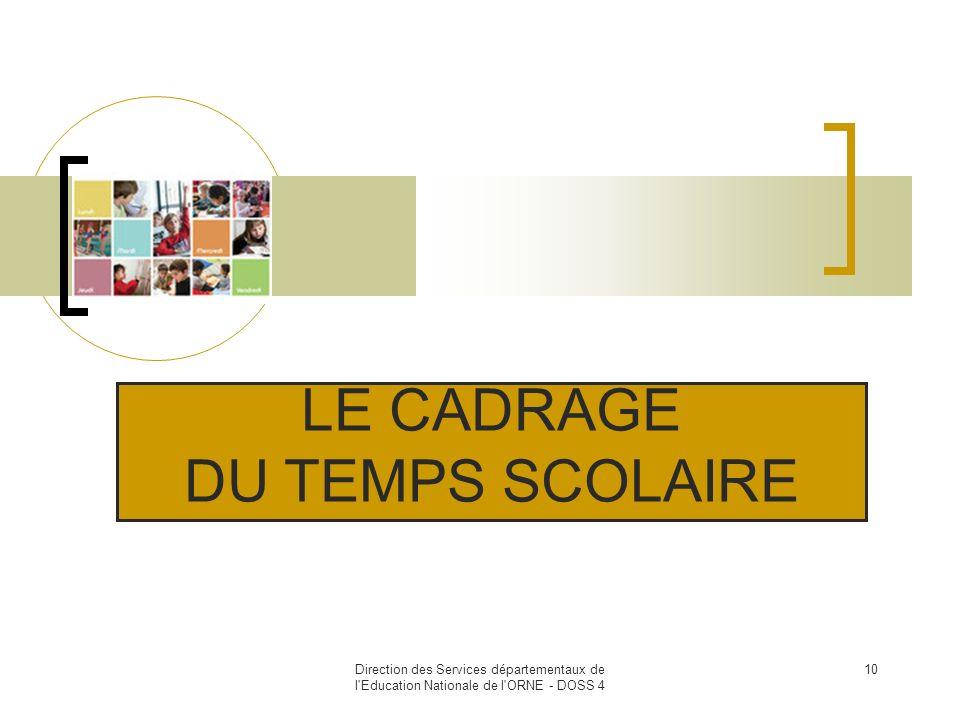 Direction des Services départementaux de l'Education Nationale de l'ORNE - DOSS 4 10 LE CADRAGE DU TEMPS SCOLAIRE
