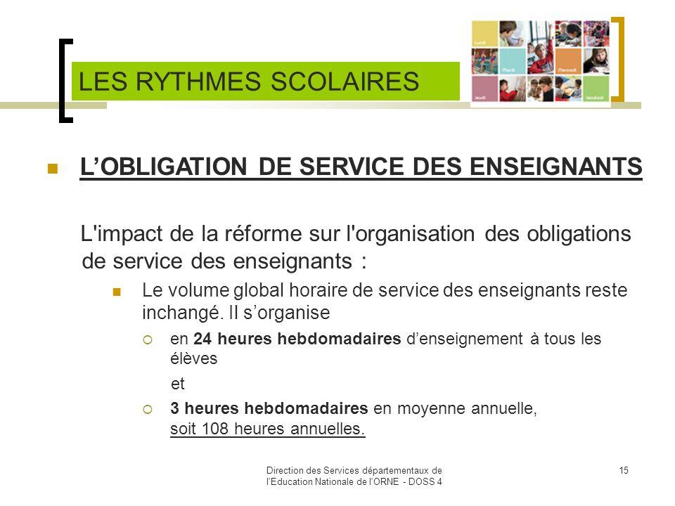 Direction des Services départementaux de l'Education Nationale de l'ORNE - DOSS 4 15 LOBLIGATION DE SERVICE DES ENSEIGNANTS L'impact de la réforme sur