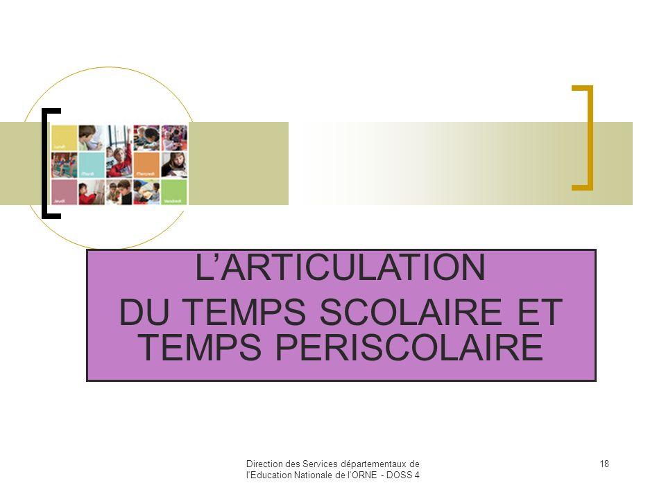 Direction des Services départementaux de l'Education Nationale de l'ORNE - DOSS 4 18 LARTICULATION DU TEMPS SCOLAIRE ET TEMPS PERISCOLAIRE