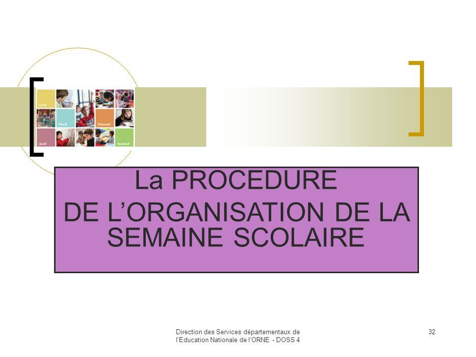 Direction des Services départementaux de l'Education Nationale de l'ORNE - DOSS 4 32 La PROCEDURE DE LORGANISATION DE LA SEMAINE SCOLAIRE