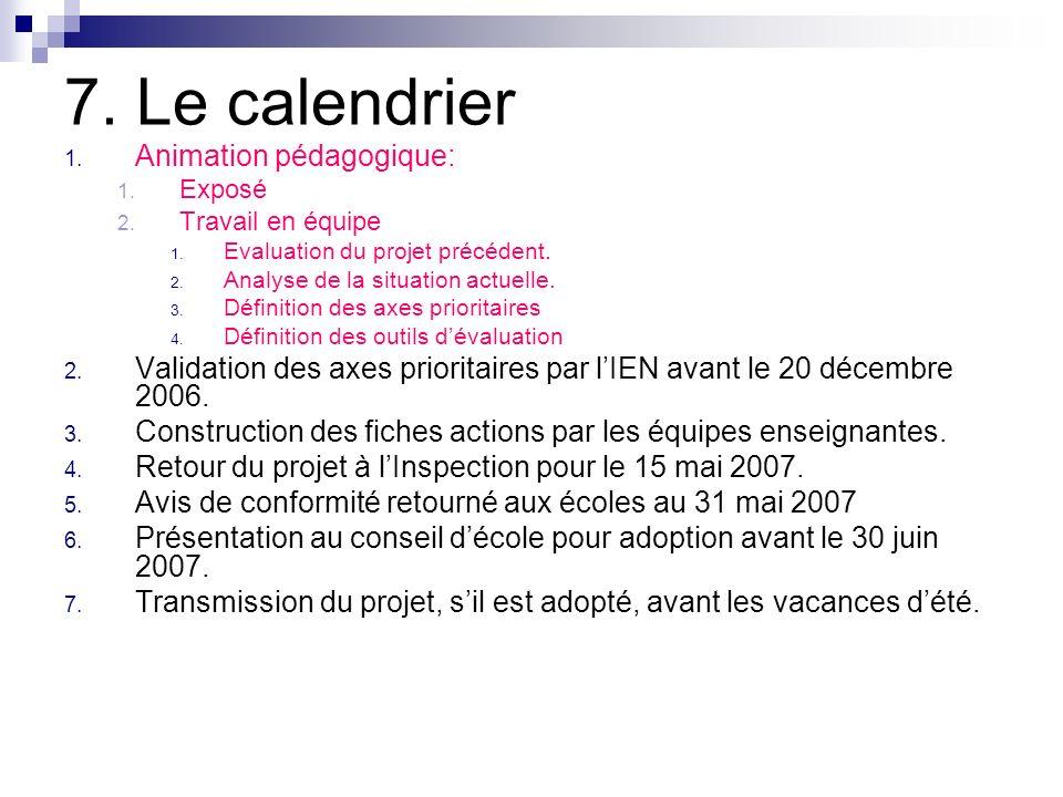 7. Le calendrier 1. Animation pédagogique: 1. Exposé 2. Travail en équipe 1. Evaluation du projet précédent. 2. Analyse de la situation actuelle. 3. D