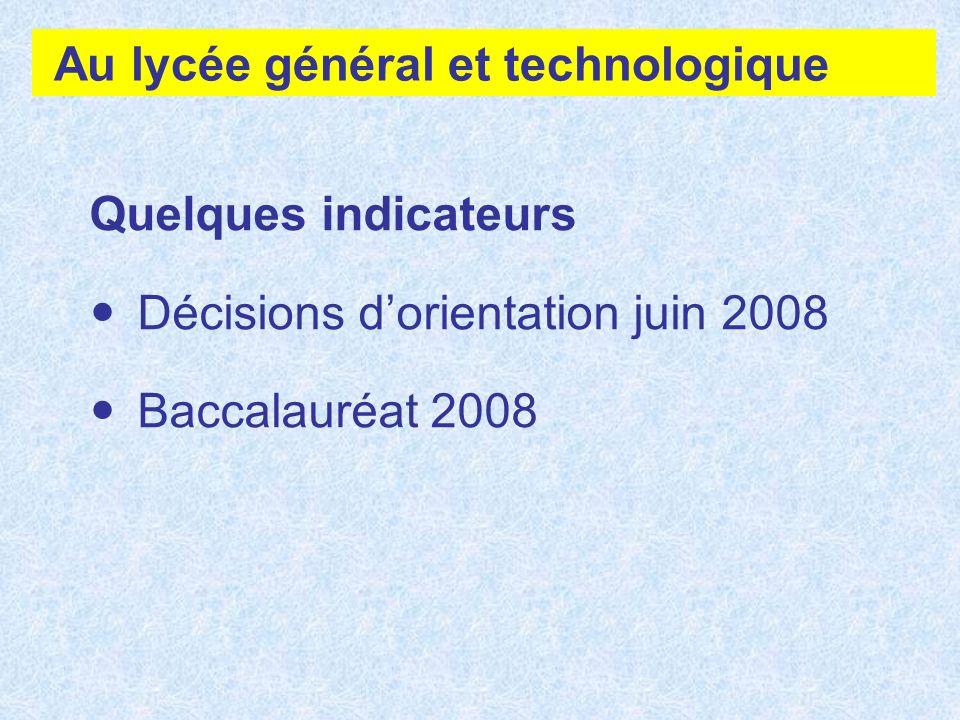 Au lycée général et technologique Quelques indicateurs Décisions dorientation juin 2008 Baccalauréat 2008
