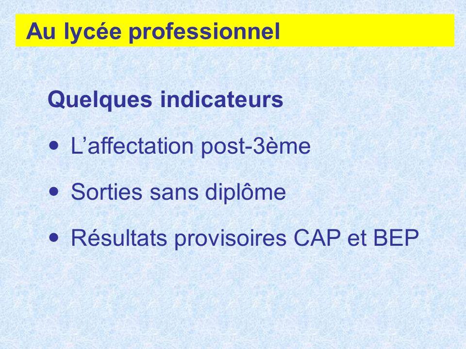 Au lycée professionnel Quelques indicateurs Laffectation post-3ème Sorties sans diplôme Résultats provisoires CAP et BEP