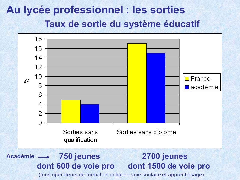 Au lycée professionnel : les sorties Taux de sortie du système éducatif 750 jeunes 2700 jeunes dont 600 de voie pro dont 1500 de voie pro Académie (to